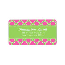 Quatrefoil Pattern Pink and Green Label