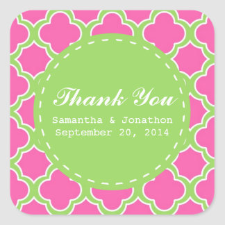 Quatrefoil Pattern Pink and Green Thank You Square Sticker