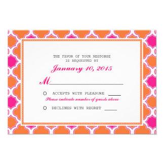 Quatrefoil Pattern Pink and Orange Wedding RSVP Custom Invitations