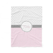 Quatrefoil Pattern Pink Gray | Custom Monogrammed Fleece Blanket