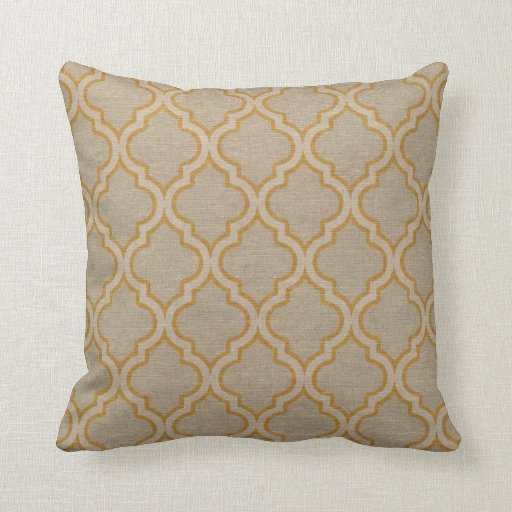 Quatrefoil Pattern Taupe and Gold Throw Pillow Zazzle