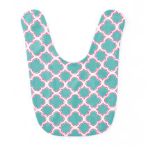 Quatrefoil Pattern Turquoise Blue and Pink Baby Bib