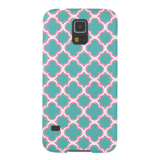 Quatrefoil Pattern Turquoise Blue and Pink Galaxy S5 Cover