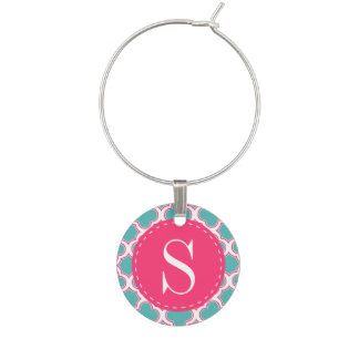 Quatrefoil Pattern Turquoise & Hot Pink Monogram Wine Glass Charm