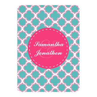 Quatrefoil Pattern Turquoise & Hot Pink Wedding Card