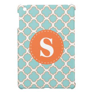 Quatrefoil Pattern Turquoise Orange with Monogram Cover For The iPad Mini