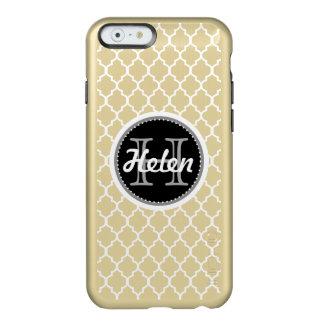 Quatrefoil Pattern White, Gray Black on Gold, Name Incipio Feather® Shine iPhone 6 Case