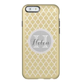 Quatrefoil Pattern White, Gray on Gold Name Incipio Feather® Shine iPhone 6 Case