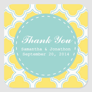Quatrefoil Pattern Yellow Turquoise Thank You Square Sticker