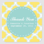 Quatrefoil Pattern Yellow Turquoise Thank You Sticker