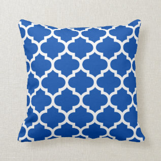 Quatrefoil Pillow - Cobalt Blue Pattern at Zazzle
