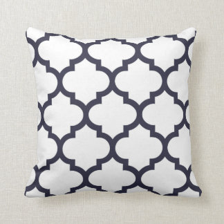 Quatrefoil Pillow - Navy Blue