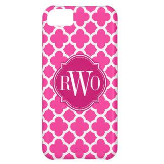 Quatrefoil Pink and White Pattern Monogram iPhone 5C Case