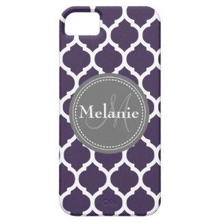Quatrefoil púrpura y gris con monograma iPhone 5 fundas