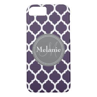 Quatrefoil púrpura y gris con monograma funda iPhone 7