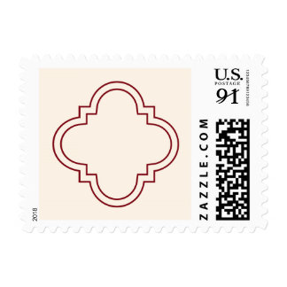 Quatrefoil red and ivory postage stamp