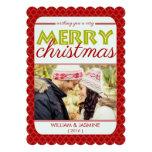 Quatrefoil Red Very Merry Christmas Flat Card