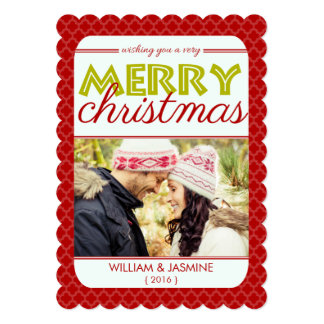 "Quatrefoil Red Very Merry Christmas Flat Card 5"" X 7"" Invitation Card"