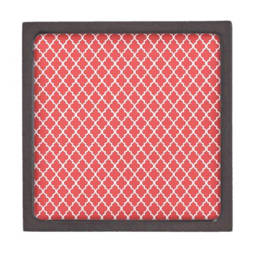 Quatrefoil rojo cajas de recuerdo de calidad