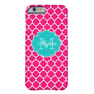 Quatrefoil rosado azul personalizado funda de iPhone 6 barely there
