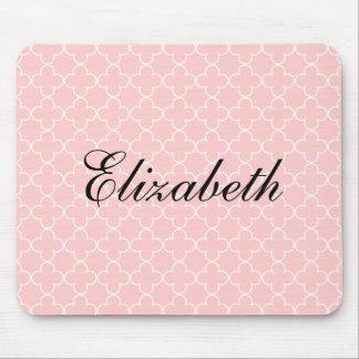 Quatrefoil rosado conocido personalizado del cojín mouse pads
