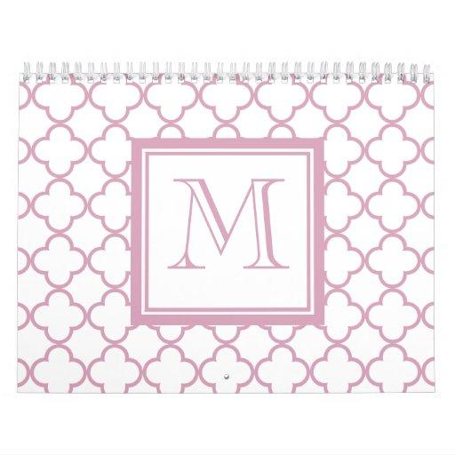 Quatrefoil rosado y blanco el | su monograma calendario