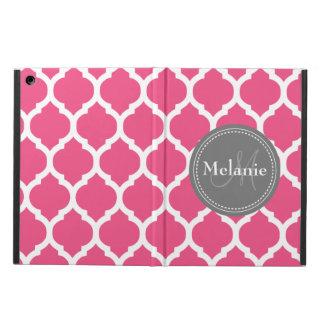 Quatrefoil rosado y gris brillante con monograma