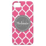 Quatrefoil rosado y gris brillante con monograma iPhone 5 Case-Mate coberturas