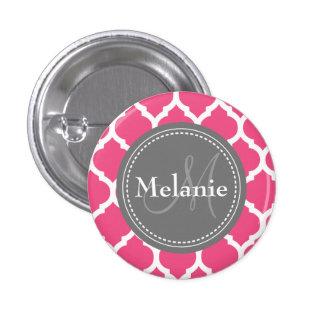 Quatrefoil rosado y gris brillante con monograma pin