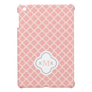 Quatrefoil Salmon Pink Pattern Stylish Monogram iPad Mini Cover