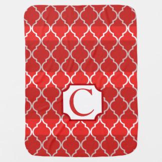 Quatrefoil Shadow Stripes Monogram   red Receiving Blanket