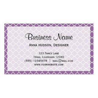 Quatrefoil Shape (Quatrefoil Tiles) - Purple White Double-Sided Standard Business Cards (Pack Of 100)
