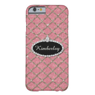 Quatrefoil Silver Glitter Look w Diamond Jewels Barely There iPhone 6 Case