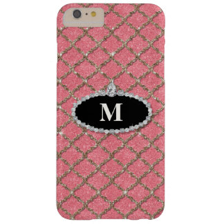 Quatrefoil Silver Glitter Look w Diamond Jewels Barely There iPhone 6 Plus Case