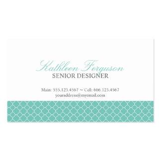 Quatrefoil teal blue clover modern pattern Double-Sided standard business cards (Pack of 100)