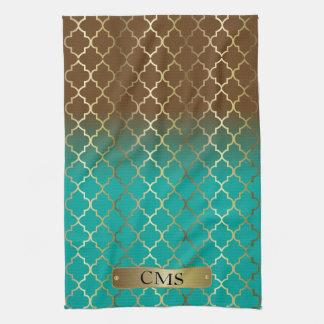Quatrefoil Turquoise Blue & Brown Color Blends Towels
