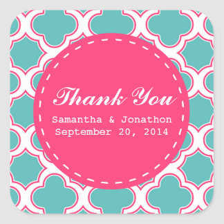 Quatrefoil Turquoise & Hot Pink Wedding Thank You Square Sticker