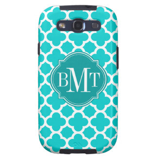 Quatrefoil Turquoise Pattern Monogram Galaxy SIII Cover