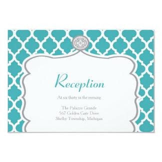 Quatrefoil Turquoise Wedding Reception Card
