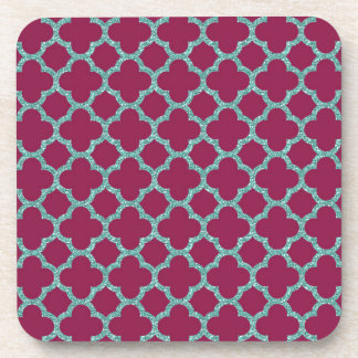 Quatrefoil turquose glitter and purple pattern beverage coaster