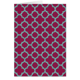 Quatrefoil turquose glitter and purple pattern card