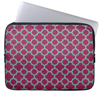 Quatrefoil turquose glitter and purple pattern computer sleeve