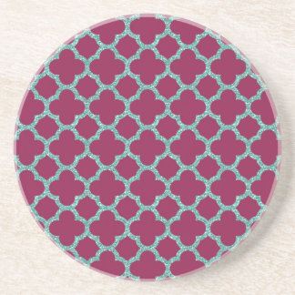 Quatrefoil turquose glitter and purple pattern drink coaster