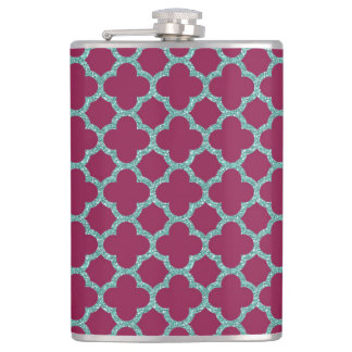 Quatrefoil turquose glitter and purple pattern flask
