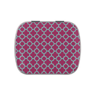 Quatrefoil turquose glitter and purple pattern jelly belly candy tin