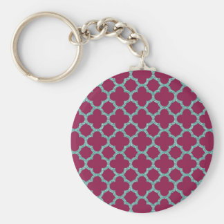 Quatrefoil turquose glitter and purple pattern keychain