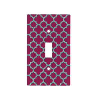 Quatrefoil turquose glitter and purple pattern light switch cover