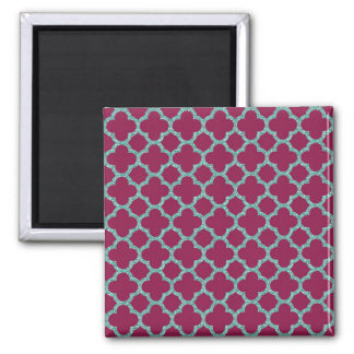 Quatrefoil turquose glitter and purple pattern magnet