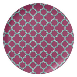 Quatrefoil turquose glitter and purple pattern melamine plate