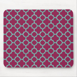Quatrefoil turquose glitter and purple pattern mouse pad